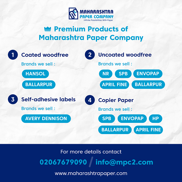 Premium Products of Maharashtra Paper Company. Coated woodfree, Uncoated woodfree, Self-adhesive labels, Copier Paper.